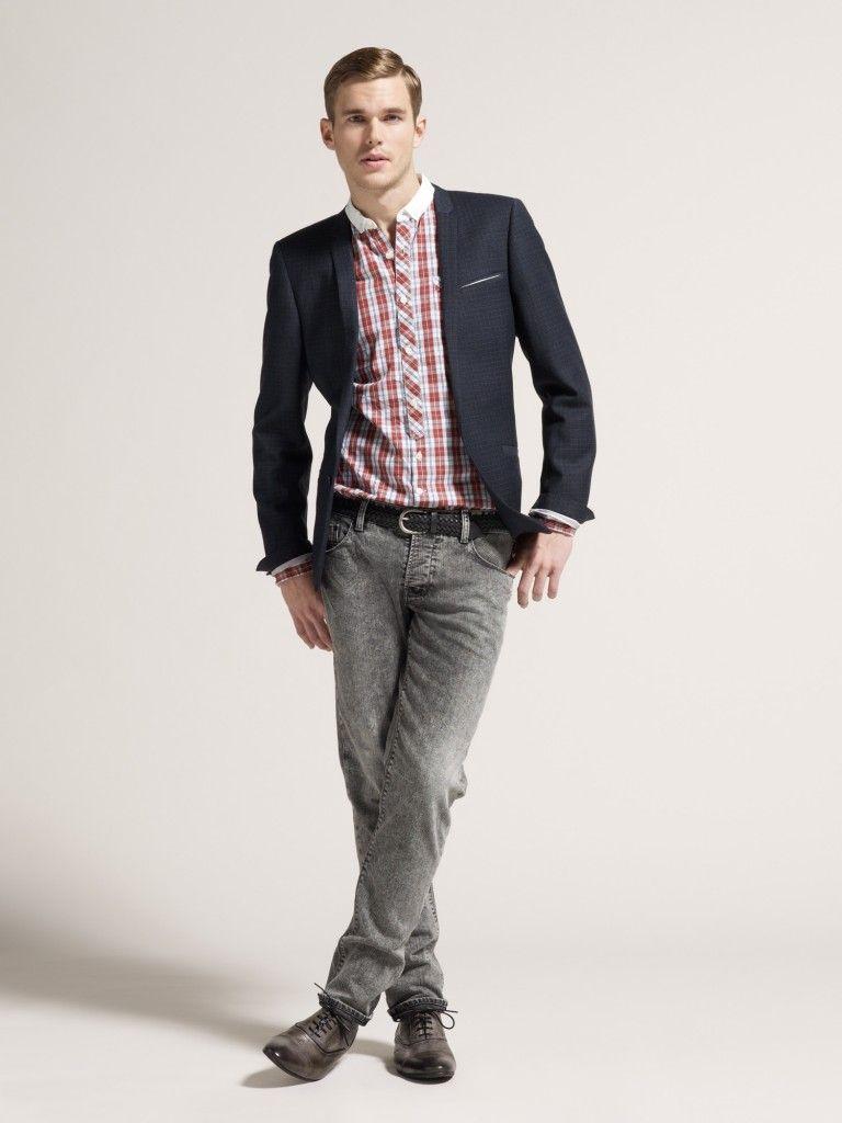 Nice denim blazer with Levi's jeans Mens attire, Blazer