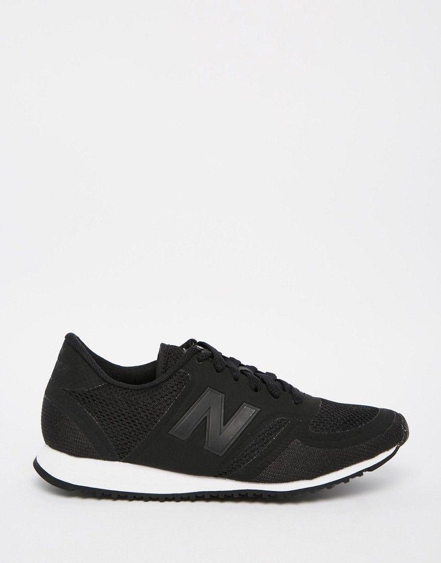 Black · New Balance Black & White Mesh 420 Trainers
