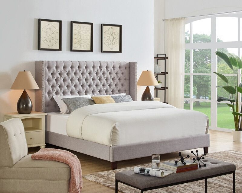 Oah D3013 Darby Home Co Abston Light Gray Linen Like Fabric Queen Low Profile Bed Frame Set Bed Frame Sets Upholstered Panel Bed Upholstered Platform Bed