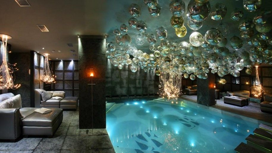 beautiful black brown wood glass unique design small indoor pool swimming relaxing lounge chairs wall lamp chandelier at house as well as pool designs plus