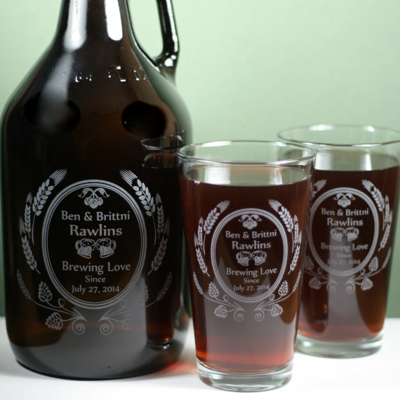 Wedding Brewing Love themed Growler and 2 Beer Pint Glasses set