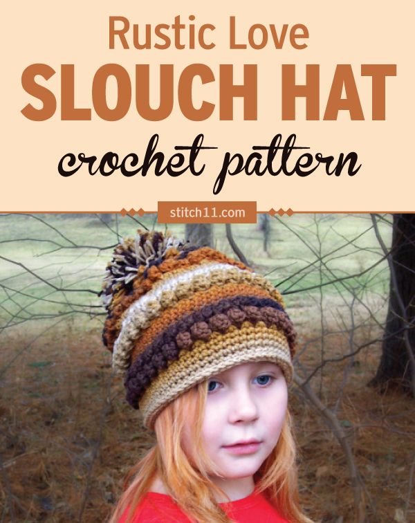 376ef79cfb4 This Rustic Love Slouch Hat crochet pattern is perfect the cold weather to  keep head and