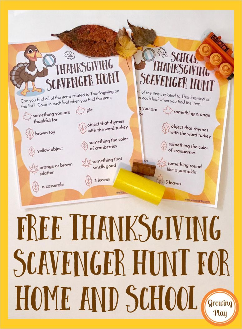 Free Thanksgiving Scavenger Hunts for Home and School - Growing Play