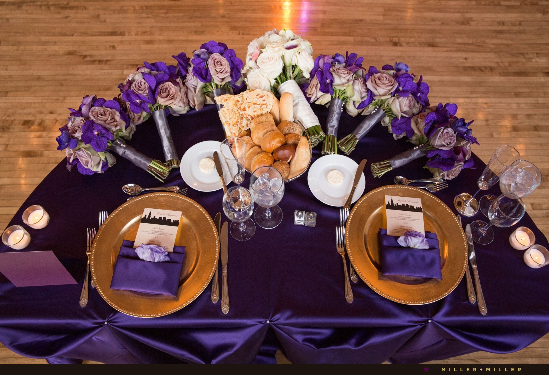 purple and gold sweetheart table bouquet centerpiece re use your ceremony flowers sweetchic events chicago wedding planner chicago wedding