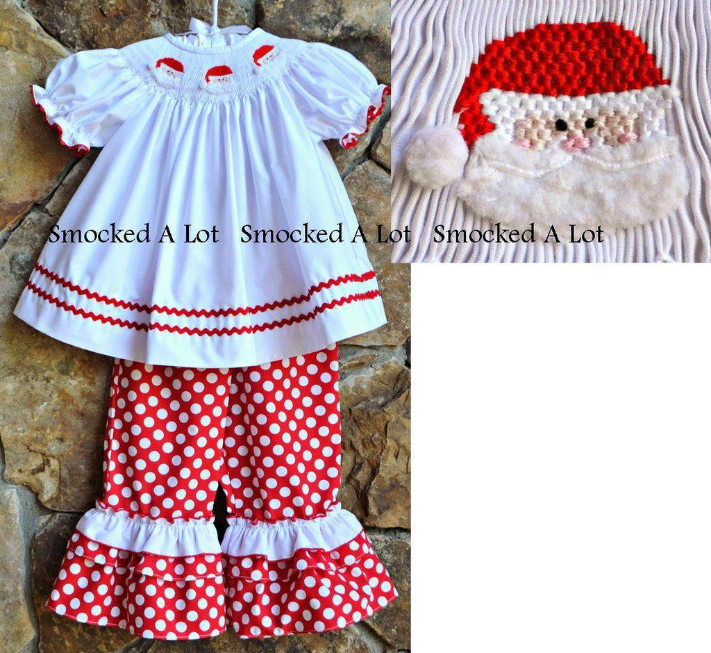 Smocked A Lot Girls Classic Christmas Dress Red Scalloped Collar Tree Santa