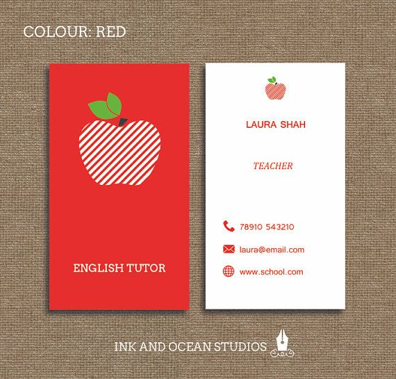Printable stylish elegant teacher, tutor, education business card ...