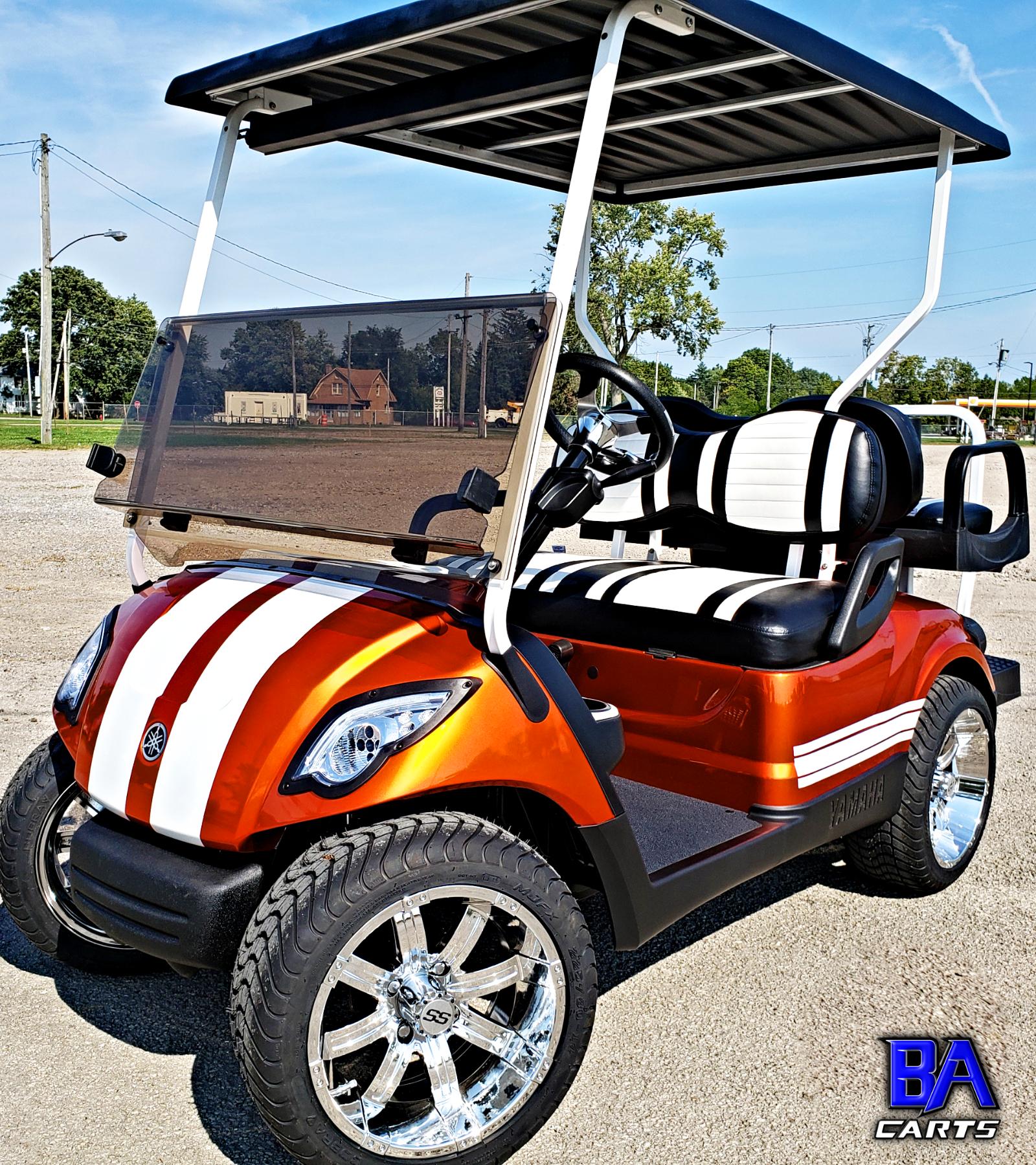 Custom Yamaha Golf Cart Muscle Orange Ba Carts Yamaha Golf Carts Golf Carts Yamaha