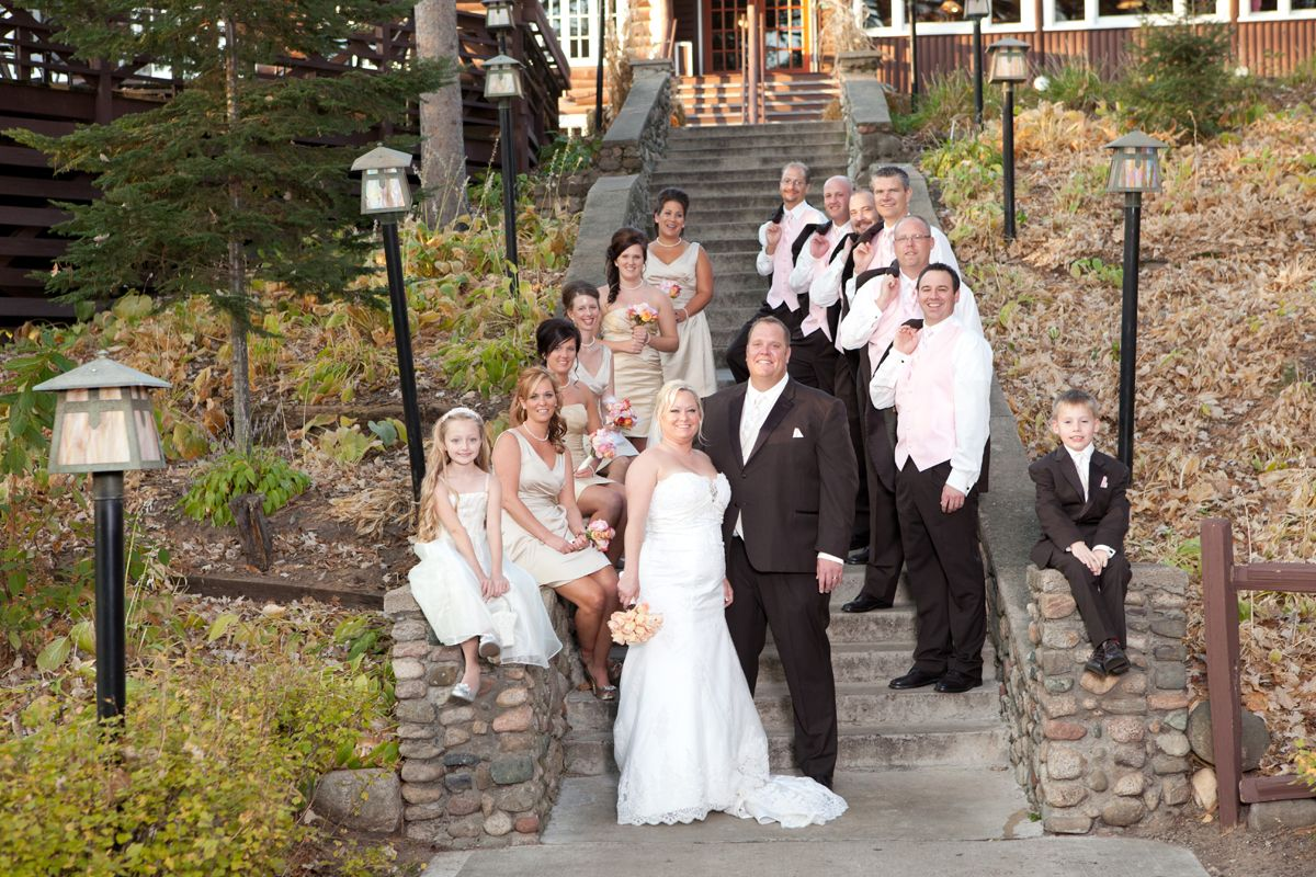 The whole wedding party together at grand view lodge photo by