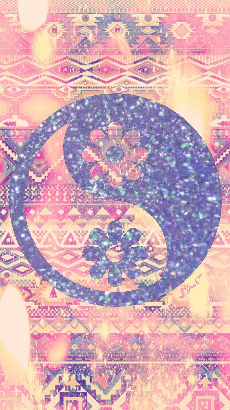 Yin Yang Glitter Flower Wallpaper Cute wallpapers