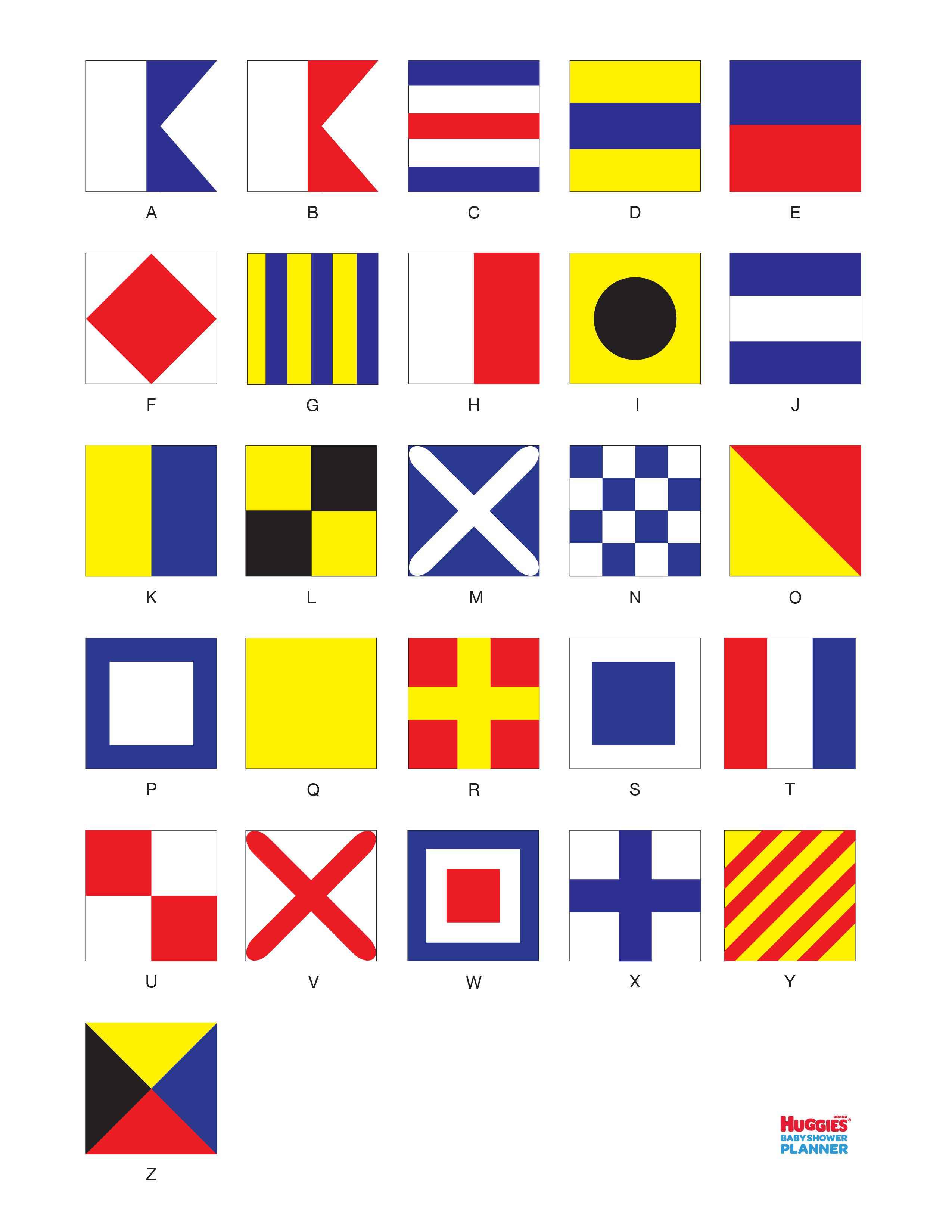 Nautical Flag Activity Printable Have Baby Shower Guests Spell Out Their Names With Signal