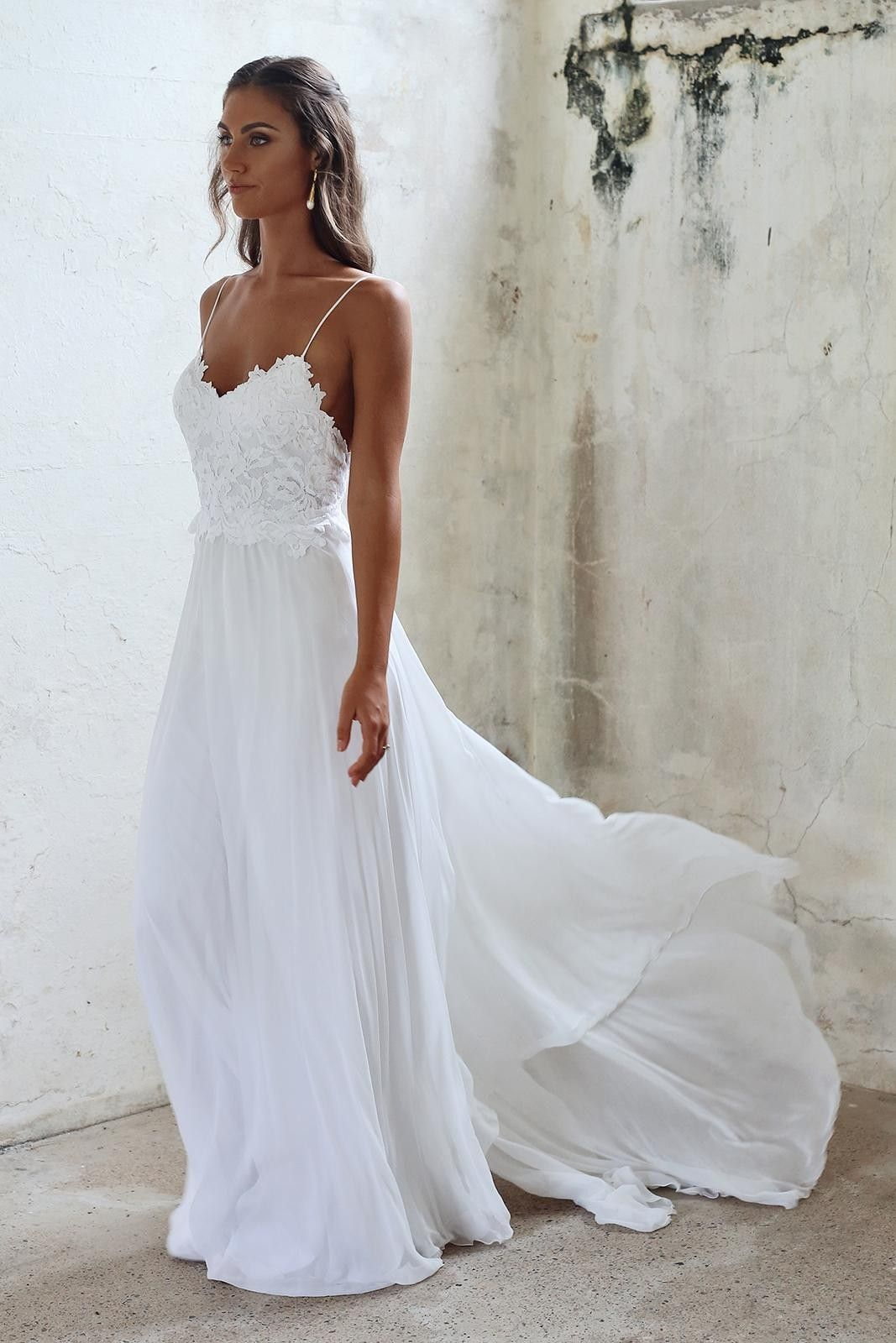 Simple A Line Spaghetti Straps Open Back Summer Wedding Dress White Beach Wedding Dresses Beach Wedding Dress Boho Coast Wedding Dress
