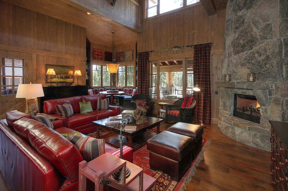 Beautiful Mountain Retreats With Stone Fireplaces Mountain Living Room Stone Fireplace Designs Fireplace Design