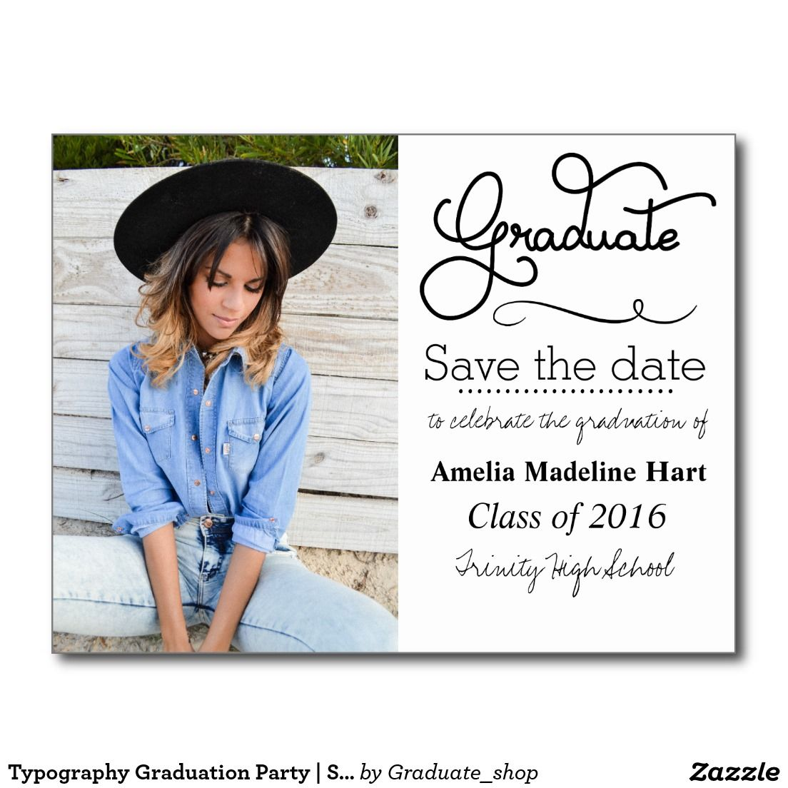 Typography Graduation Party Save The Date Photo Announcement Postcard Zazzle Com Save The Date Photos Photo Announcement Graduation Party
