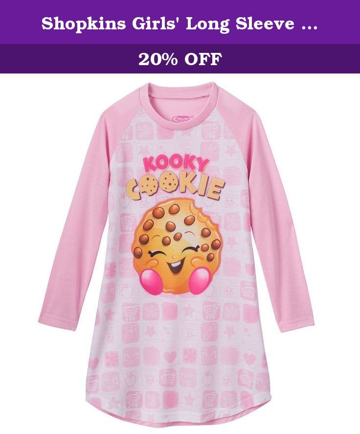 Shopkins Girls Long Sleeve Kooky Cookie Nightgown Small 6 6x Kooky Cookie Is Just Too Adorable On This Comfy Nightgown Pijama Pinterest