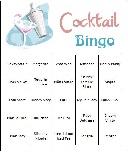 Games To Play At Weddings: Our Cocktail Bingo Cards, Our Wedding Shower Games FREE