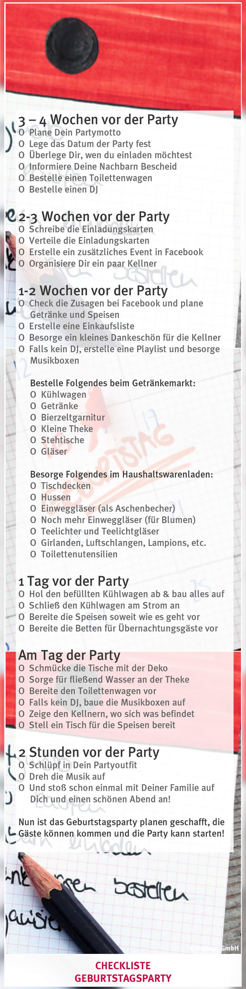 Geburtstag Planen Geburtstagsparty Planen Checkliste Party Pinterest 18th