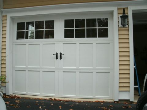 Custom Wood Garage Doors In White With Hardware