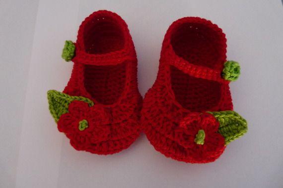 Merceditas  flor roja, Niños y bebé, Patucos