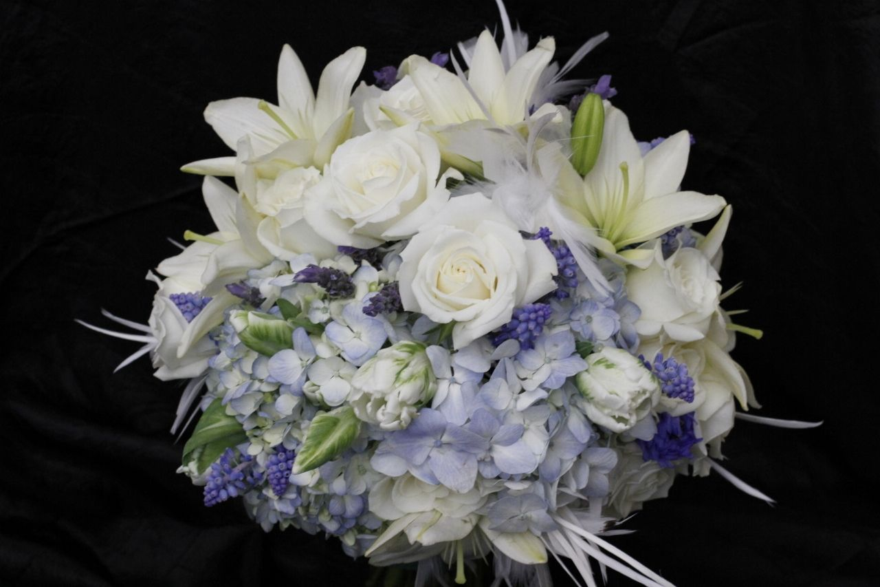 Blue And White Bouquet With Wedding Flowers Like Muscari Lavender Tulips Lilies