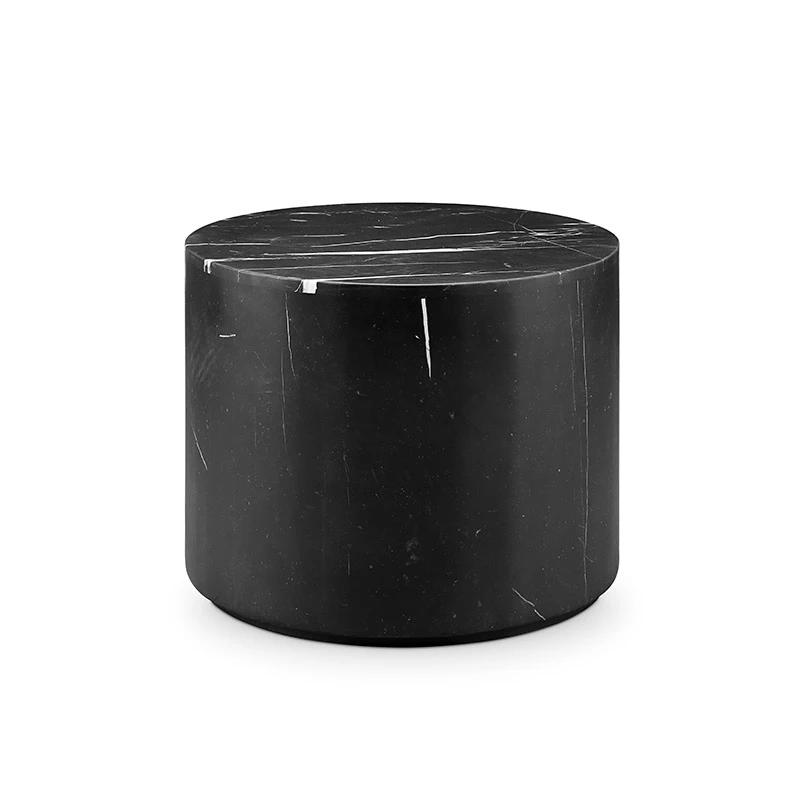 Nero Marquina Black Marble Drum Accent Table Black
