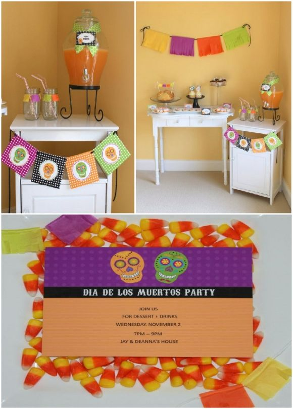 Whimsical Dia de Los Muertos Halloween Party Margarita mix - halloween party ideas for adults decorations
