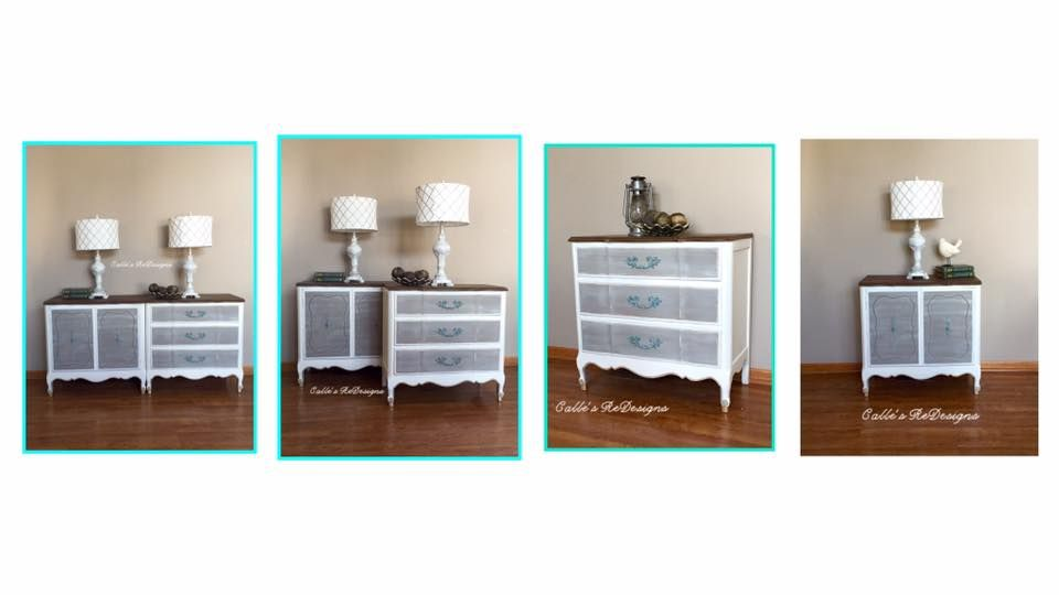 Pair of Night Stands custom painted in Pure White, French Linen and hints of Turquoise.
