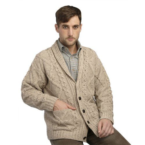 Men's Clothing - 100 Irish Merino Wool Aran Button Mens Sweater by Westend Knitwear >>> You can get more details by clicking on the image. (This is an Amazon affiliate link)