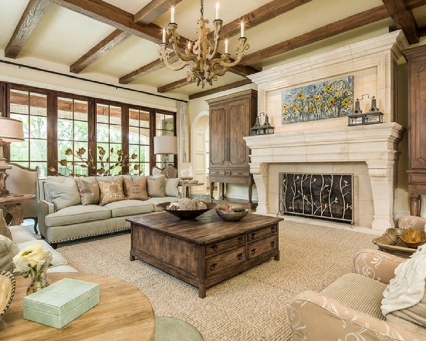 nice traditional rustic living room sets decoration - wood beams, wall of windo… | craftsman