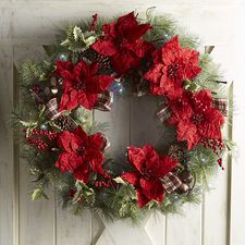 Oversized 32 Plaid Ribbon Poinsettia Wreath Christmas Decorations Wreath Storage Poinsettia Wreath