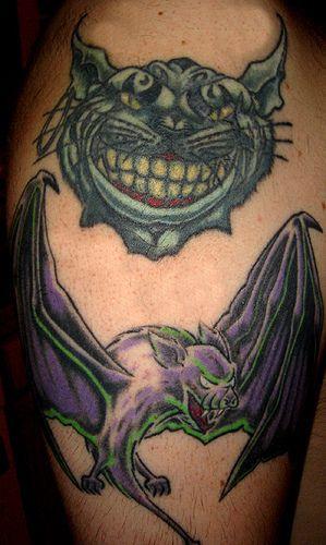 Cat and bat #tattoo
