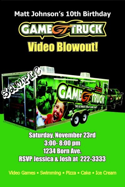 Video Game Truck Birthday Invitations Get These Invitations Right