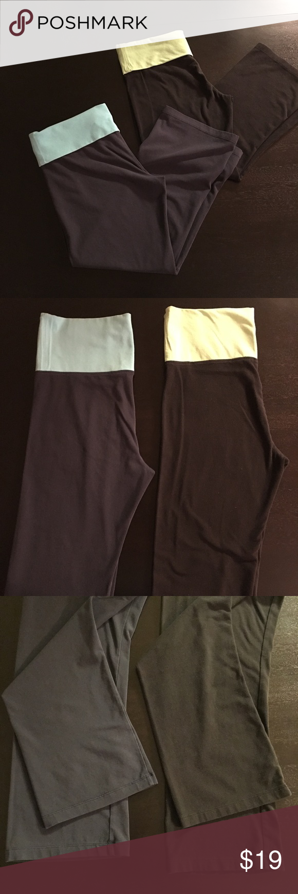 """2 Pairs - Victoria's Secret Yoga Crops Two pairs of Victoria's Secret yoga crop pants. One pair is navy with a light blue fold over waist band and the other is black with a lime green fold over waist band. Both are women's size small and 87% cotton/13% Lycra spandex. Inseam is 25"""". Victoria's Secret Pants Track Pants & Joggers"""