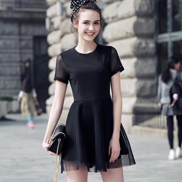 Women's Elegant Black Mesh Hallow Out Dress
