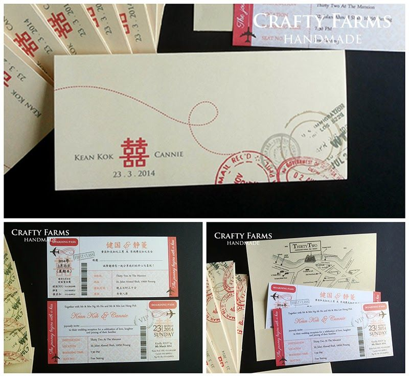 wedding invitation printing malaysia%0A Wedding Card Malaysia   Crafty Farms Handmade   Red and Gold Chinese Wedding  Boarding Pass Cards