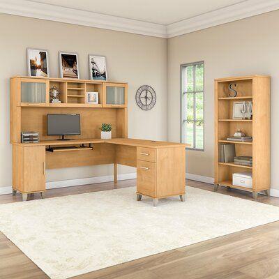 Ebern Designs Kirchoff Desk with Hutch and 3 Piece Set   Wayfair