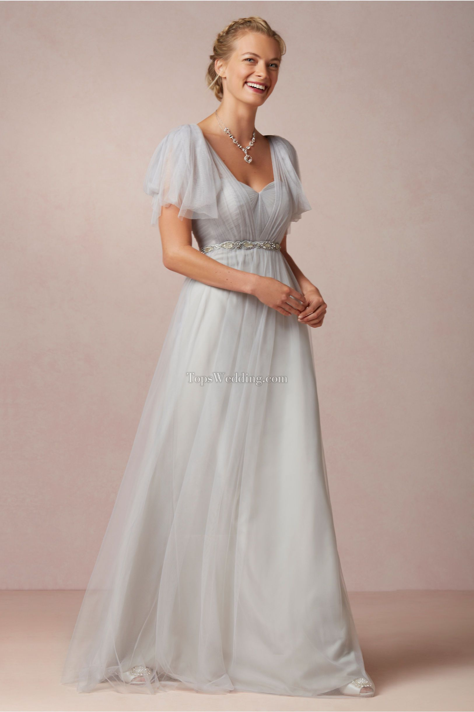 Beautiful Grey Bridesmaid Dresses With Fancy Sleeves And Beaded Waistline