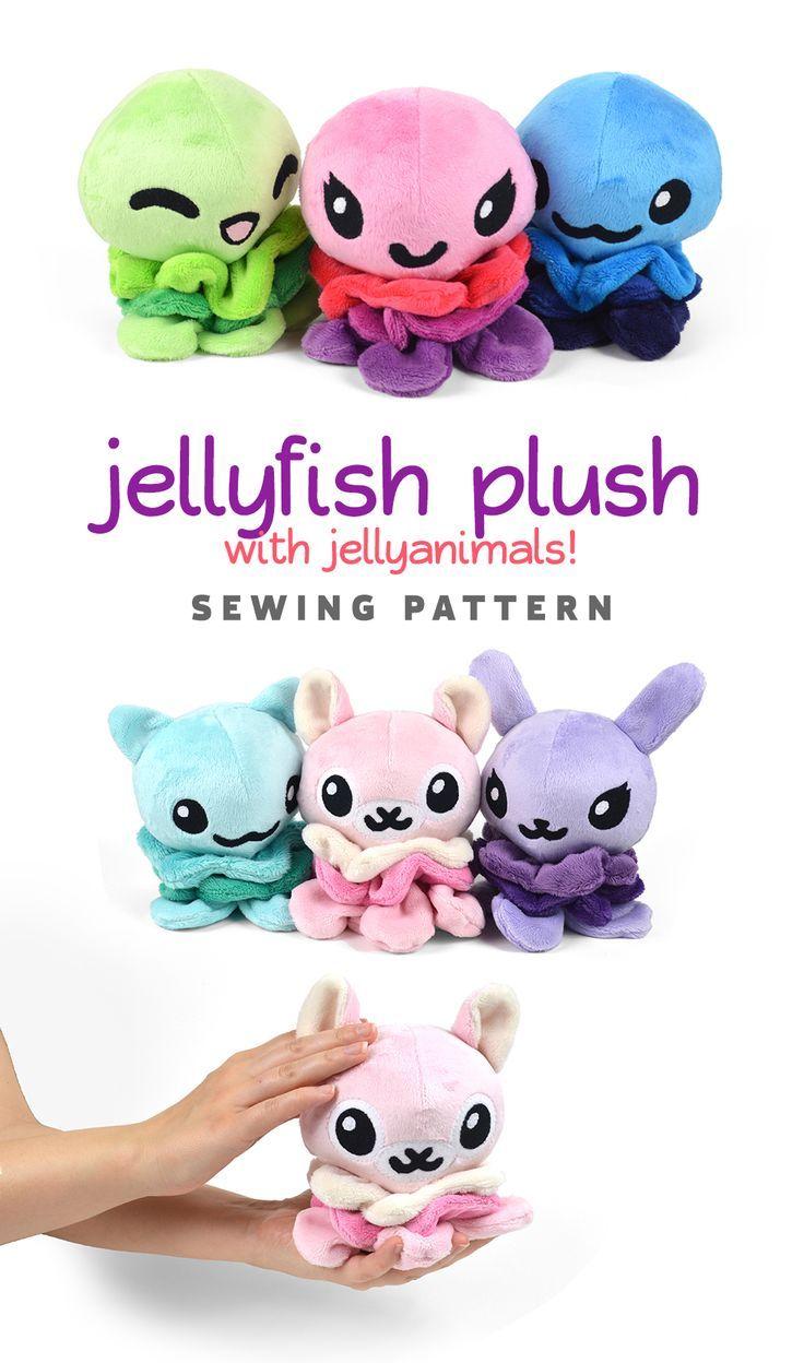 881cc48b81426 Jellyfish with Animal Variation Plush Sewing Pattern .pdf Tutorial ...