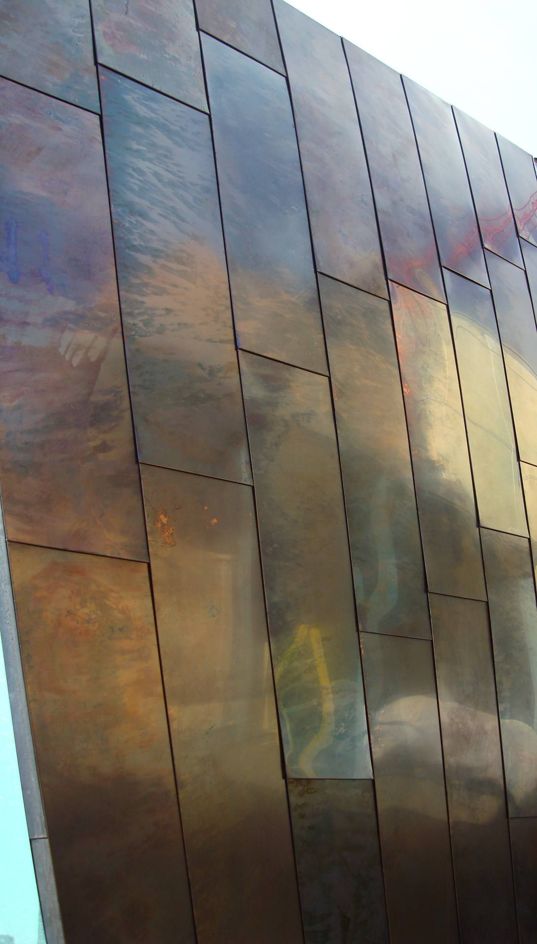 Color Palette Inspiration Detail Of The Custom Patina On Copper Panels For The Waipolu Gallery Roofingmaterials House Cladding Zinc Cladding Cladding Design