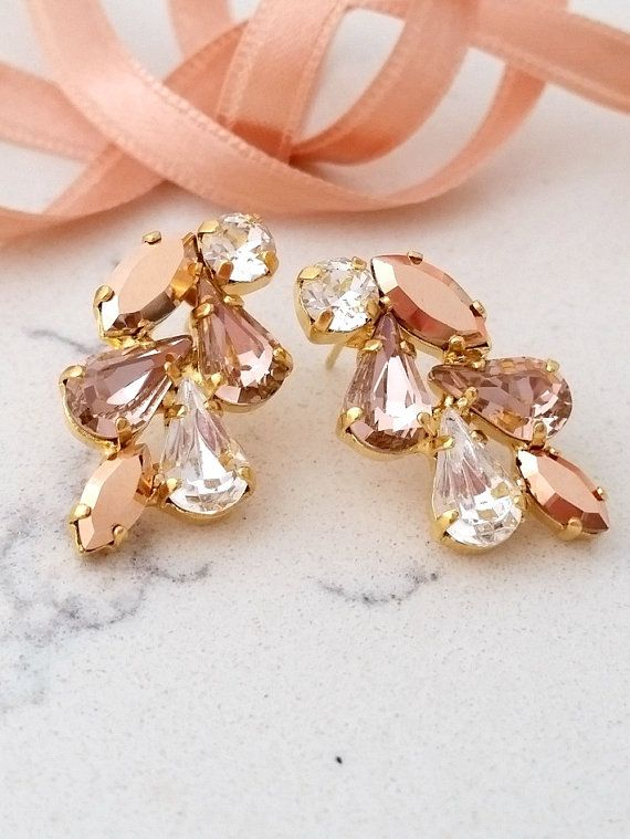 Blush earrings,Rose gold blush earrings,stud earrings,Cluster earring,Blush rose gold,chandelier earring,bridal earrings,bridesmaid earrings by EldorTinaJewelry | http://etsy.me/2c4agpp