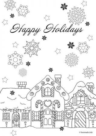 Christmas Joy \u2013 Happy Holidays Colorir, Para colorir e Aulas de arte