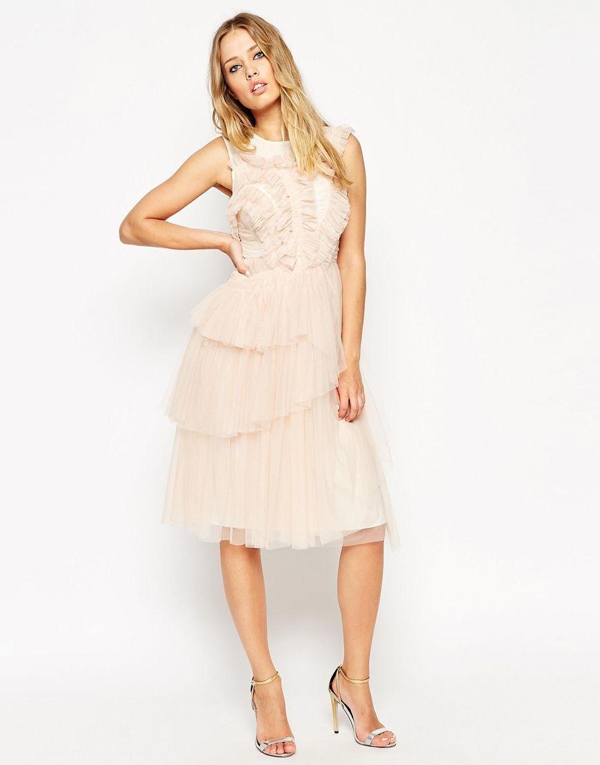 Needle Thread Tulle Frill Midi Dress