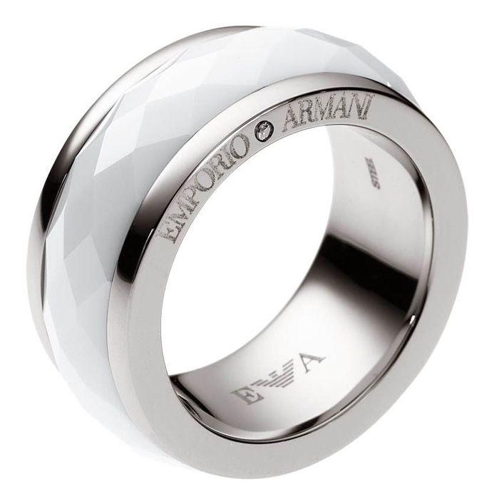 Emporio Armani Womens Ring Steel Ceramic Egs1526040