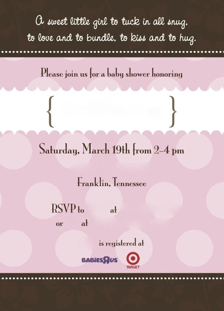 Pretty Pink And Brown Baby Shower Invitations Client Name And