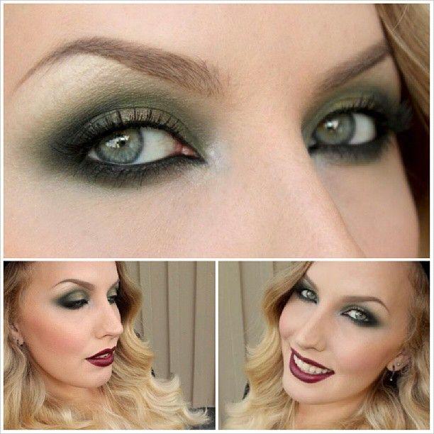 Smokey Moss Green Eyes And Dark Lips Makeup For Hazel Eyes