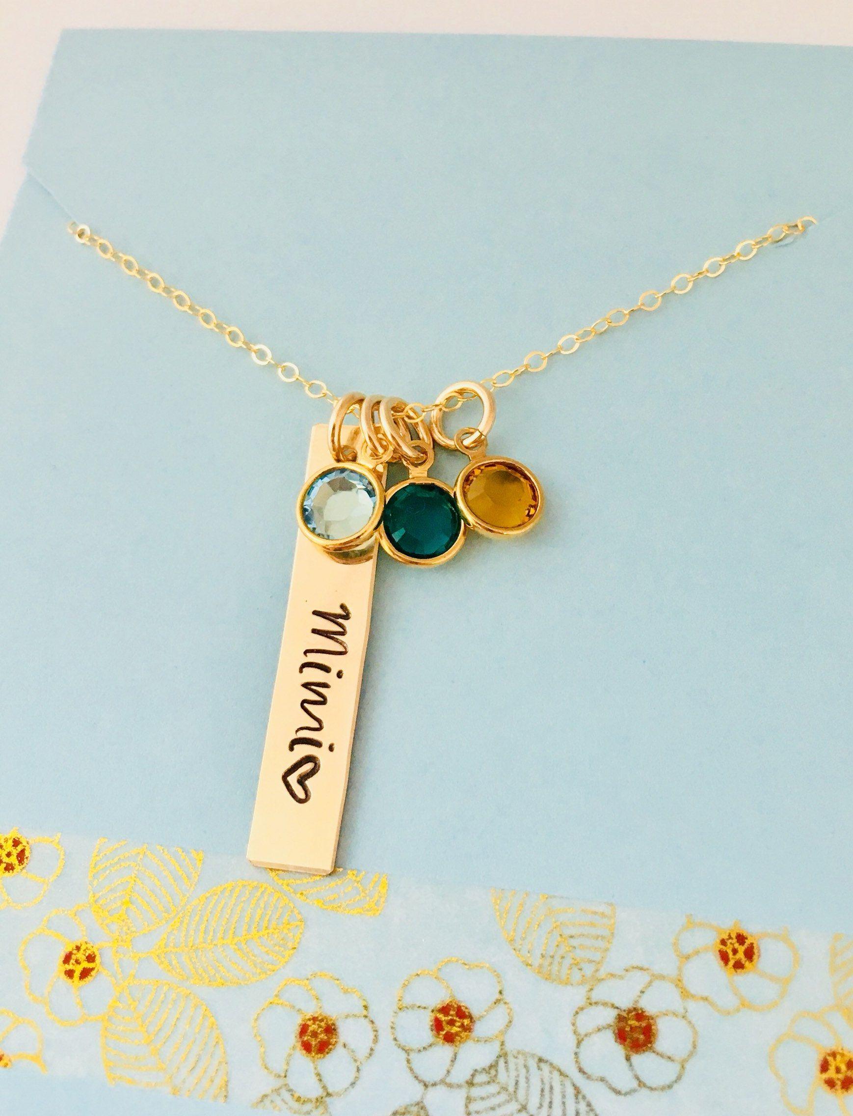 Gold Mimi Necklace Personalized Grandma Birthstone Necklace 14k Gold Filled Grandma Grandma Necklace Birthstone Grandma Jewelry Personalized Grandma Necklace
