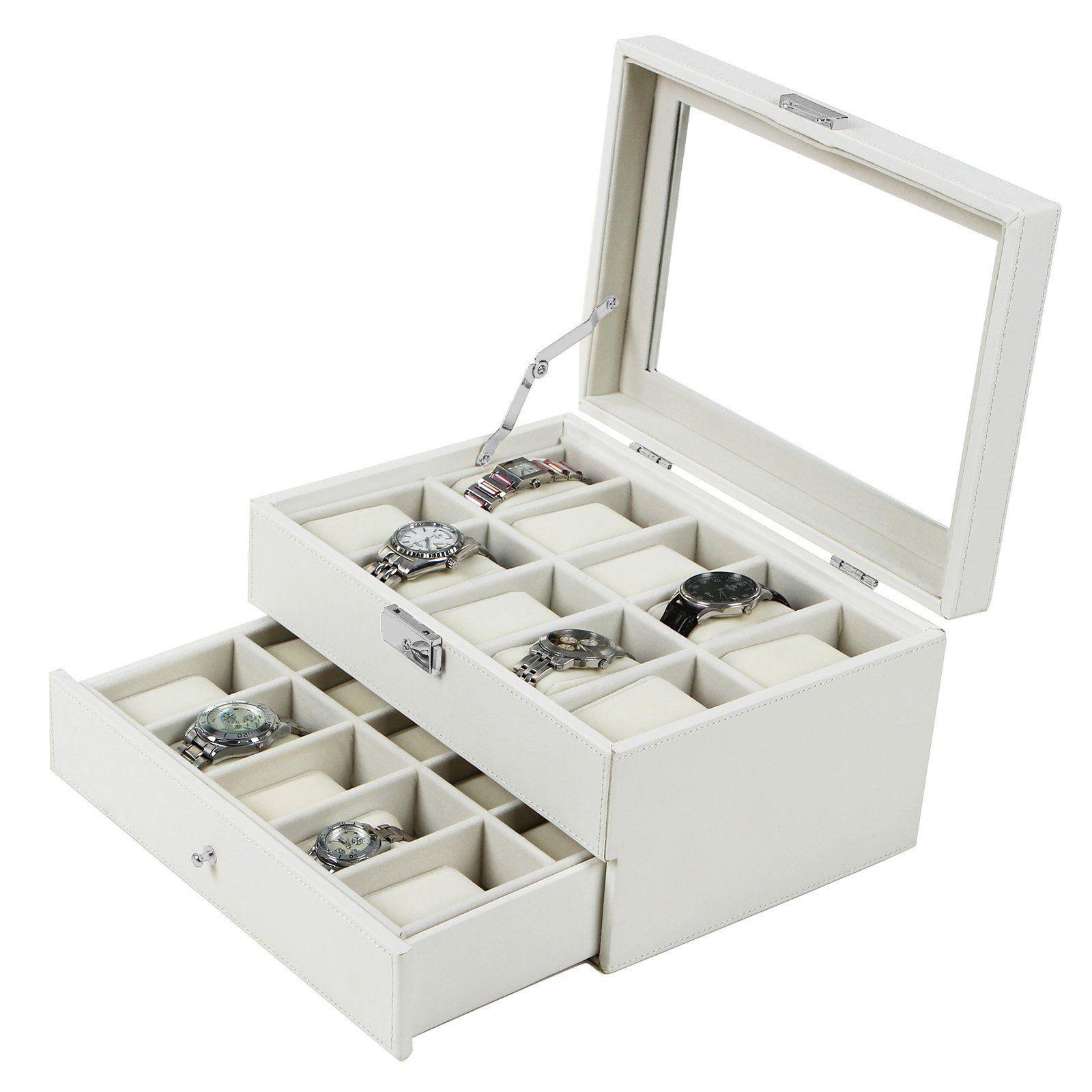 Songmics caja para 20 de relojes joyer a soporte de - Vitrinas para miniaturas ...