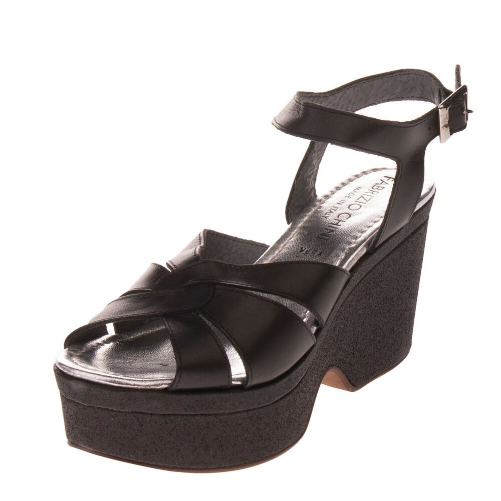 FABRIZIO CHINI Leather Ankle Strap Sandals Size 38 UK 5 Heel