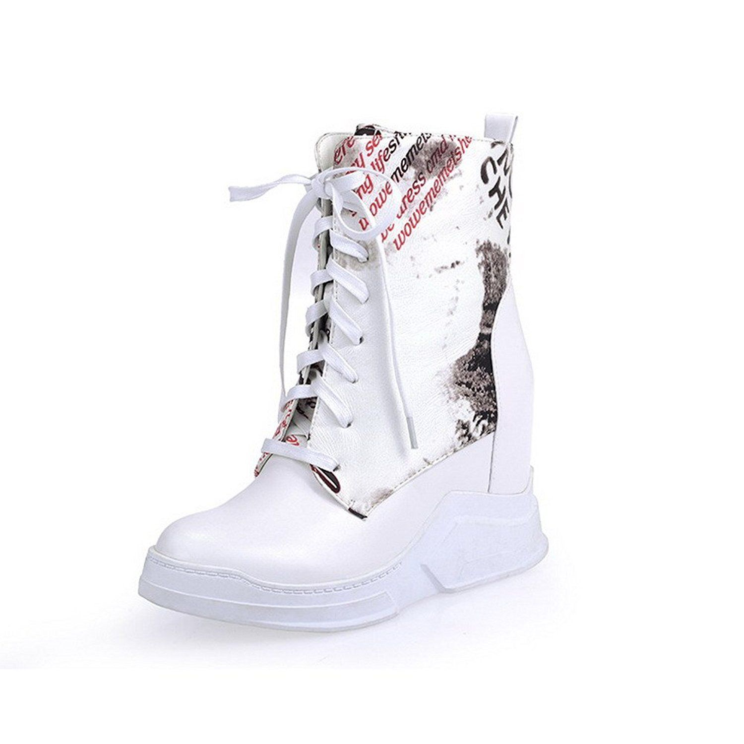 AmoonyFashion Women's Round-Toe Closed-Toe High-Heels Boots with Rubber Soles and Heighten Inside *** Click image to review more details.