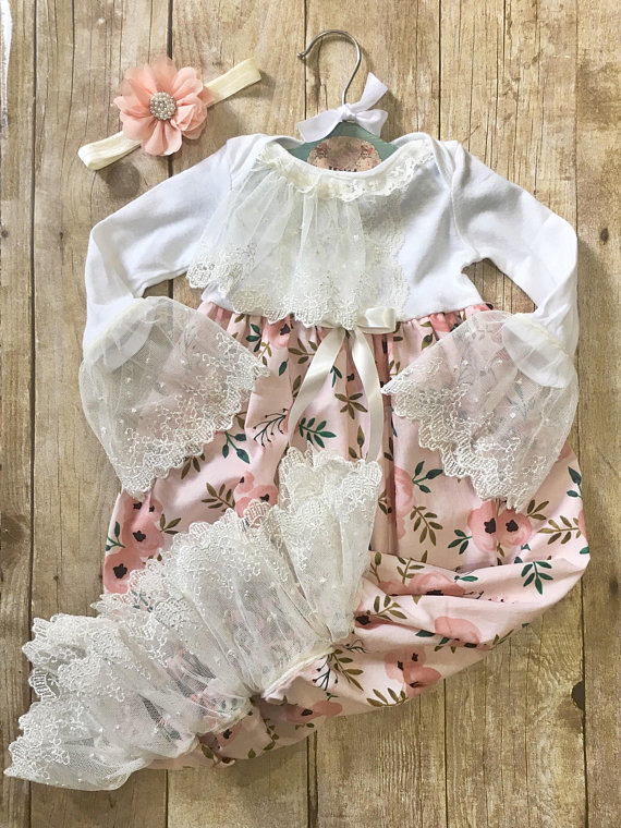 32d6b1287bcf Blush pink floral baby gown, newborn girl layette, coming home outfit, baby  hospital outfit, over th