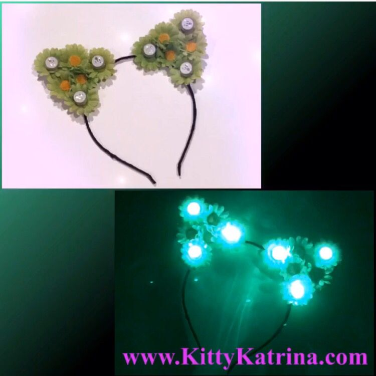 #LUVIT 😻 GREEN with envy over this Customizable Green LED #CatEarsHeadband that is shipping out 💚 This #FlowerChild selected Green Daisies and a Black Headband ⚫️ Customize your LED #CatEars at KittyKatrina.com in our LED Crowns / Headbands Section 😘 #ledflowercrown #flowercrown #flowerheadband #kittyears #rave #ravecostume #raveoutfit #ravewear #festivalfashion #festivalstyle #edmfashion #edmstyle #burningman #lollapalooza #electriczoo #nocturnalwonderland #moonrisefestival #outsidelands